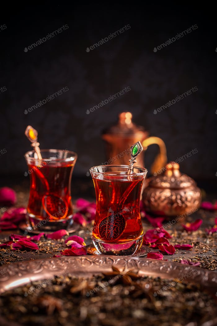 Turkish tea served in traditional glasses