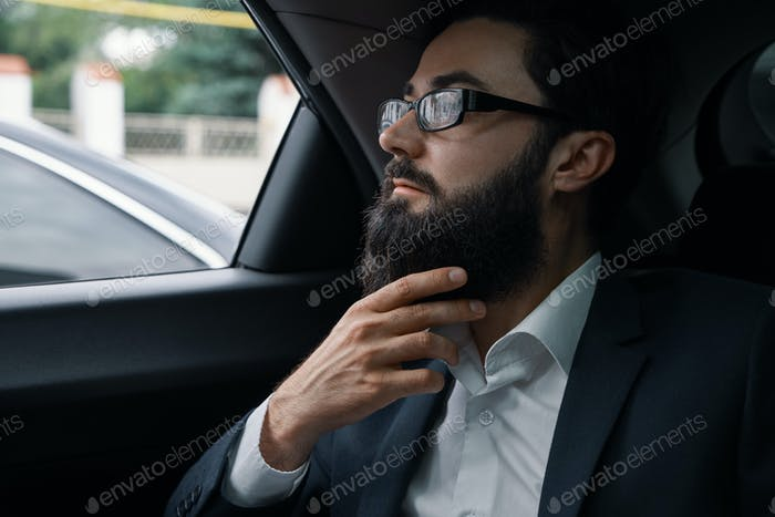 Confident businessman sitting on the car back sit