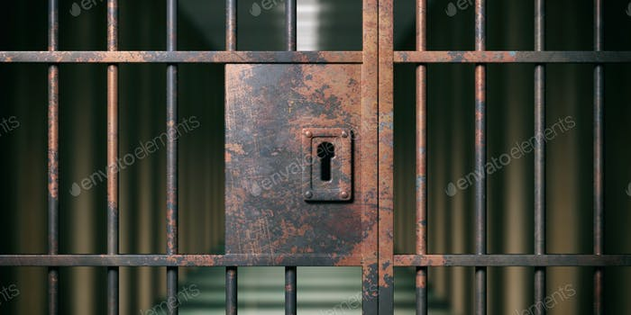 Prison interior. Locked rusty door closeup, dark background. 3d illustration