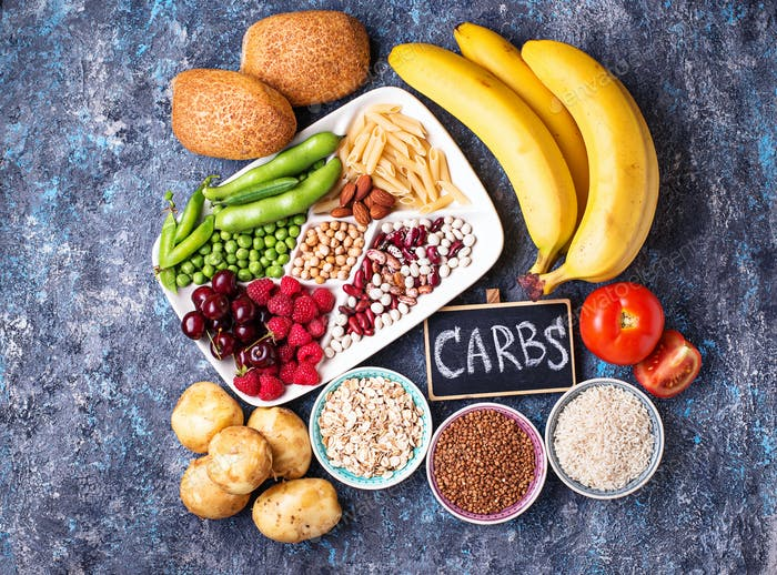 Healthy products sources of carbohydrates.