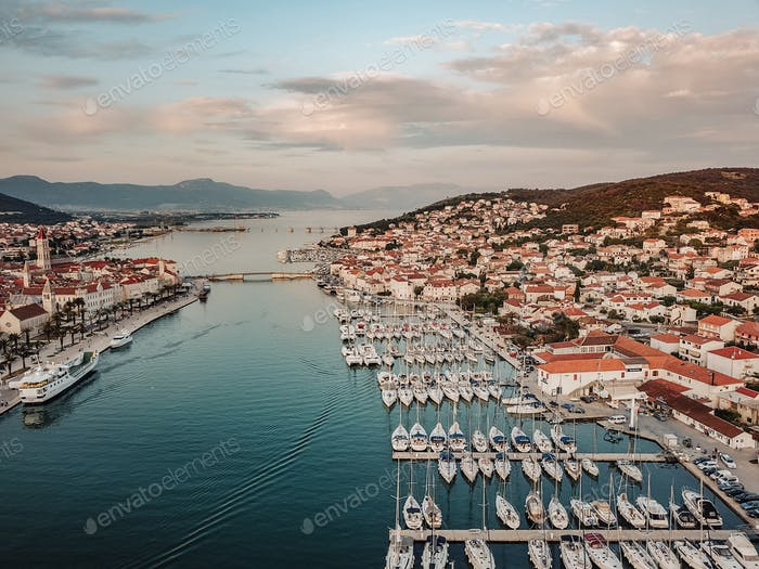 Aerial view, sailing yachts, motor yachts and catamarans, Croatia