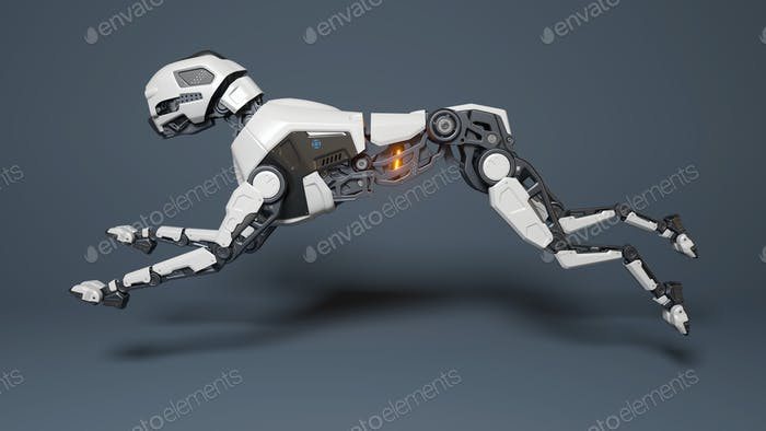 Robot dog runs on a gray background.