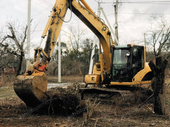 Excavator uprooting trees on land in countryside