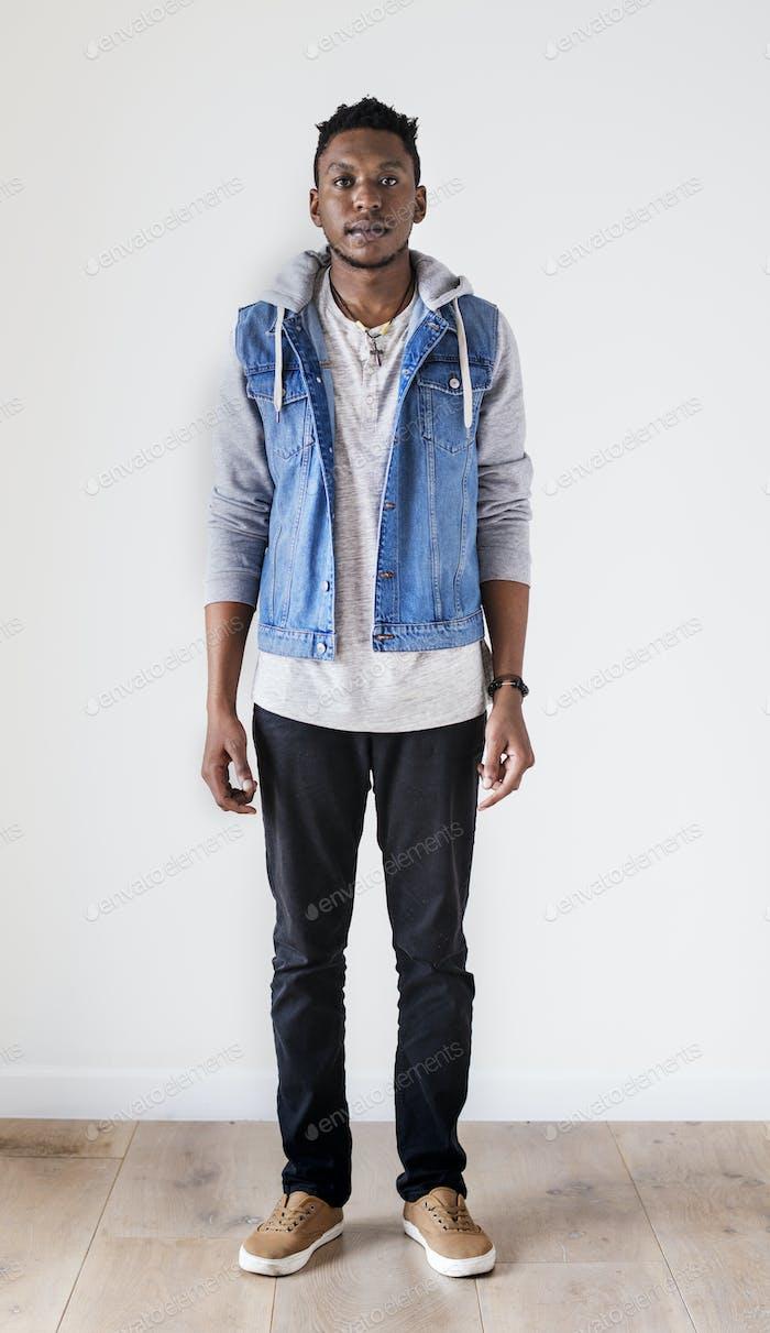 African ethnicity man portrait shoot in a studio