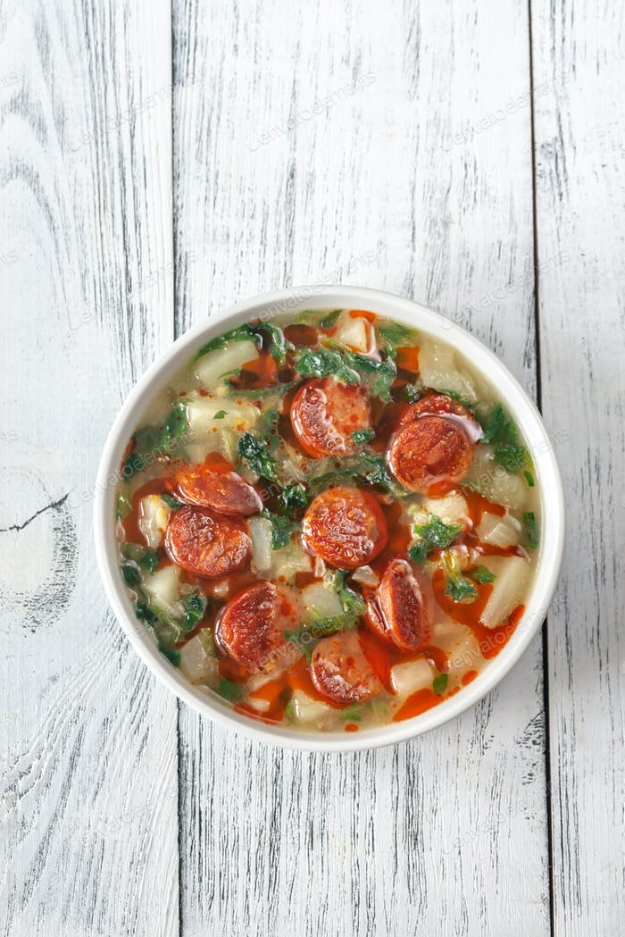 Portion of Caldo verde soup