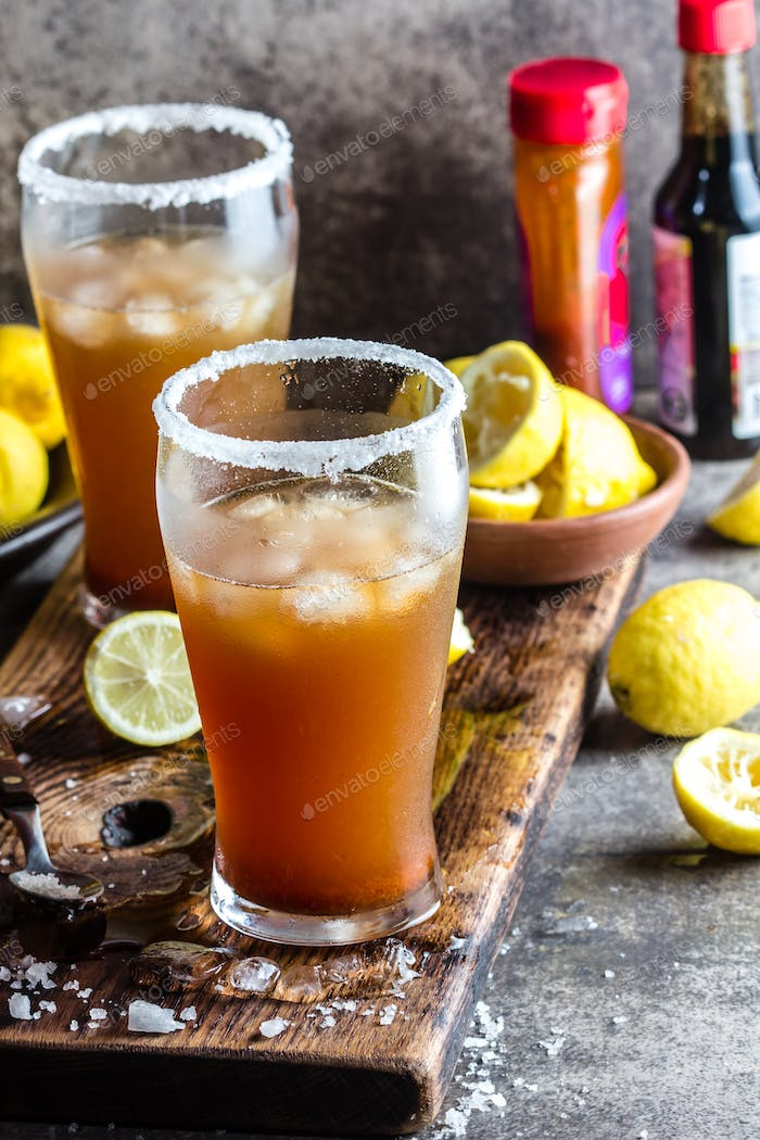 Mexican Michelada. Traditional Latin American mexican spicy refreshing beer drink