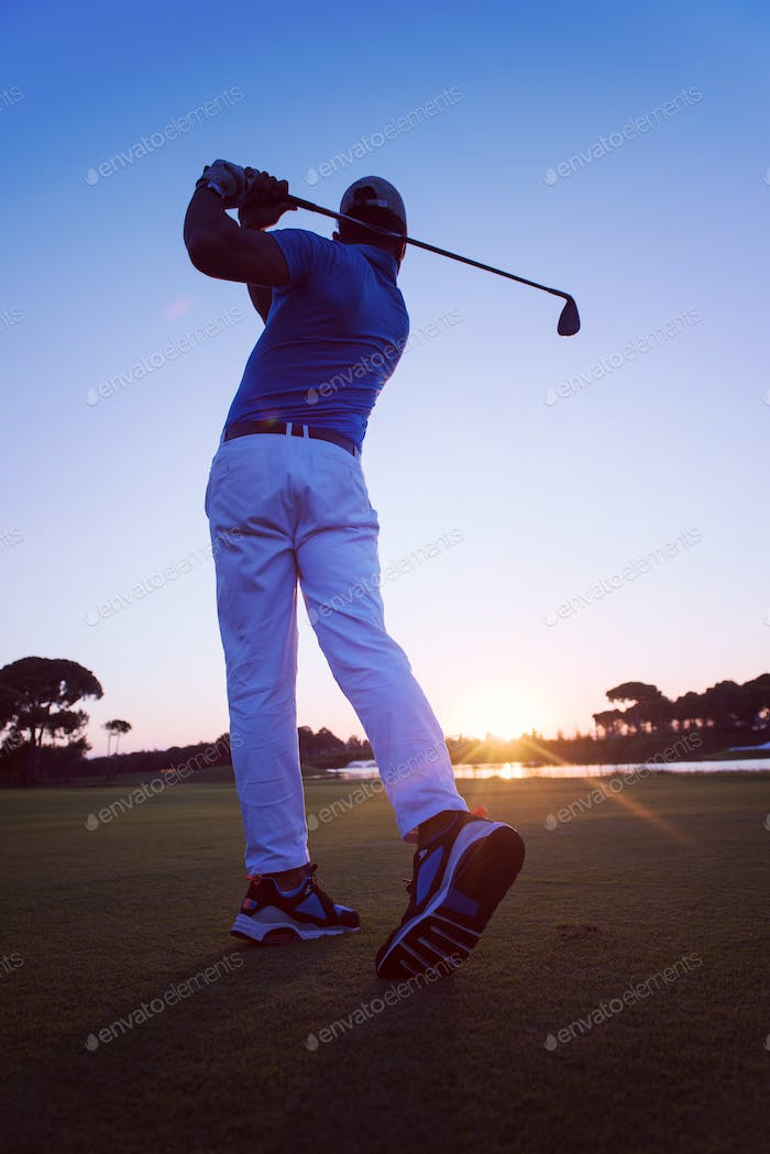 golfer hitting long shot