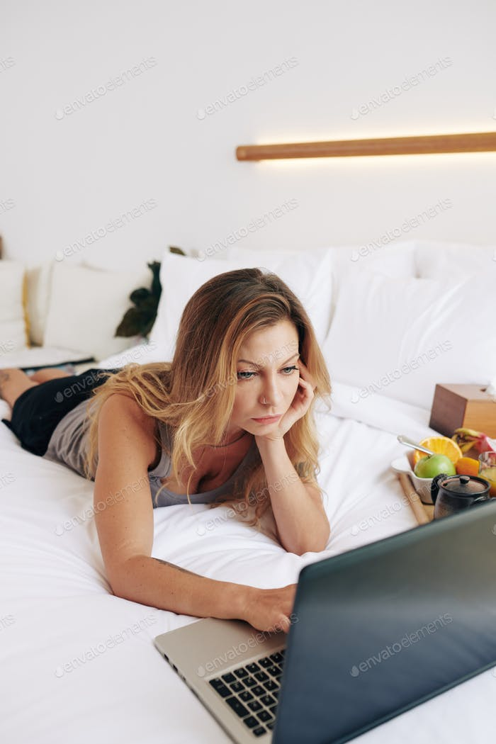Young woman surfing internet