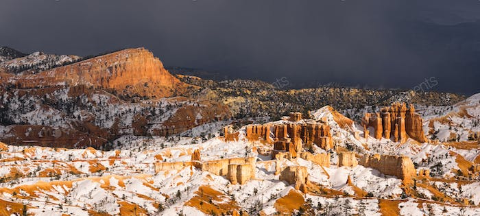 Stormy Skies Threaten Bryce Canyon Rock Formations Utah USA