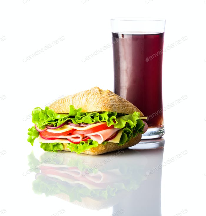 Cold Cola with Burger Sandwich on White Background
