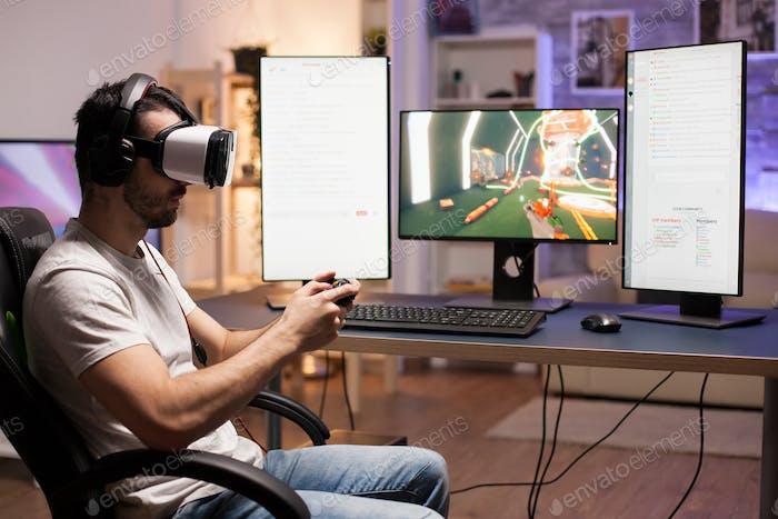 Professional gamer wearing virtual reality headset