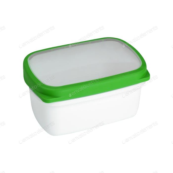 Kunststoffbehälter für Milchprodukte Isoliert auf weißem Hintergrund