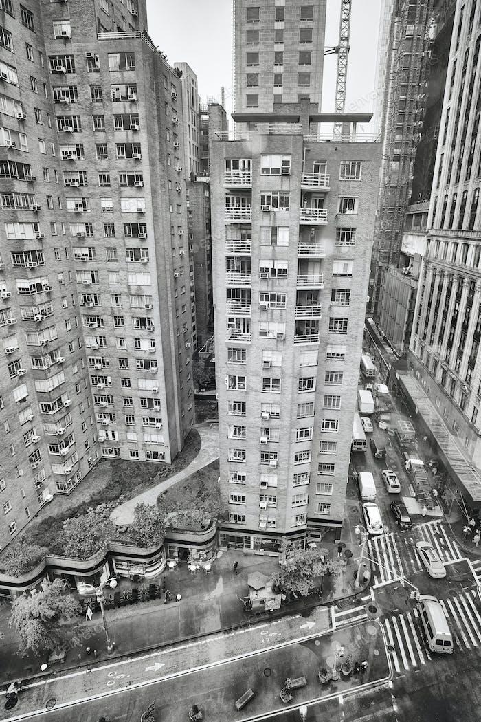 Дождливый Бродвей сверху, Нью-Йорк, США.