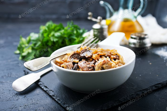 fried cabbage with mushrooms