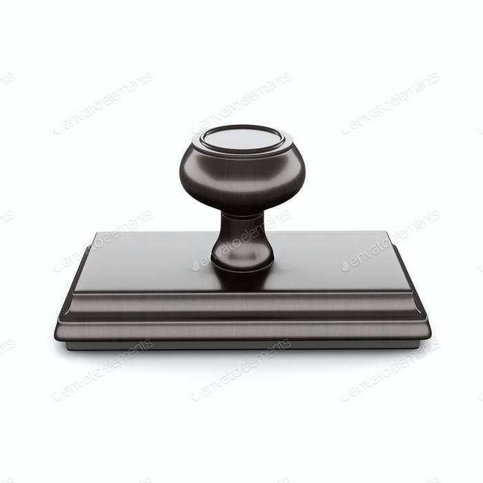 Rubber stamp with wood handle and base Isolated on white backgro