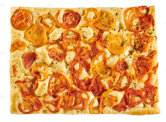 Traditional Italian focaccia bread with tomatoes