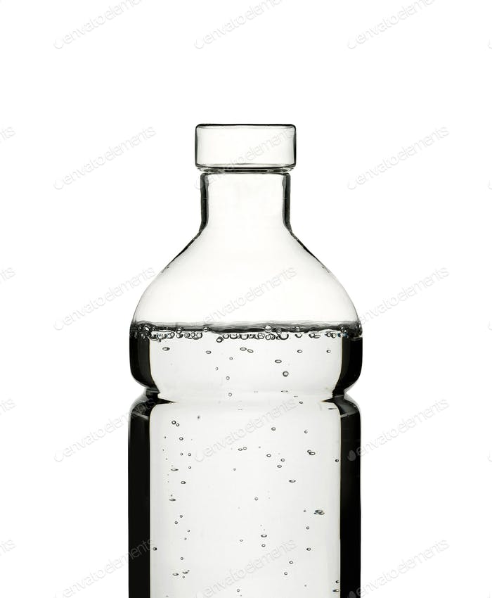 close up plastick bottle of water isolated