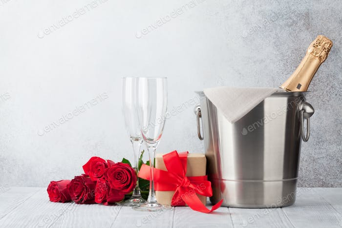 Valentine's day greeting card with roses and champagne