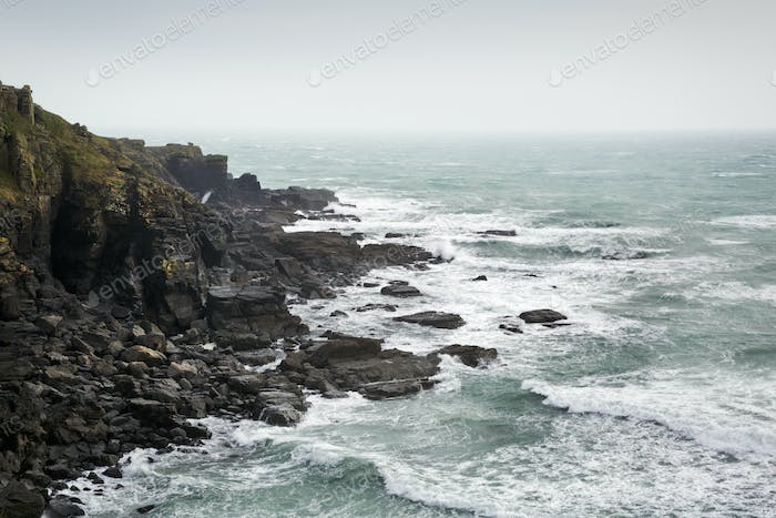 Cornish Coast, view of the sea from a rocky cliff.