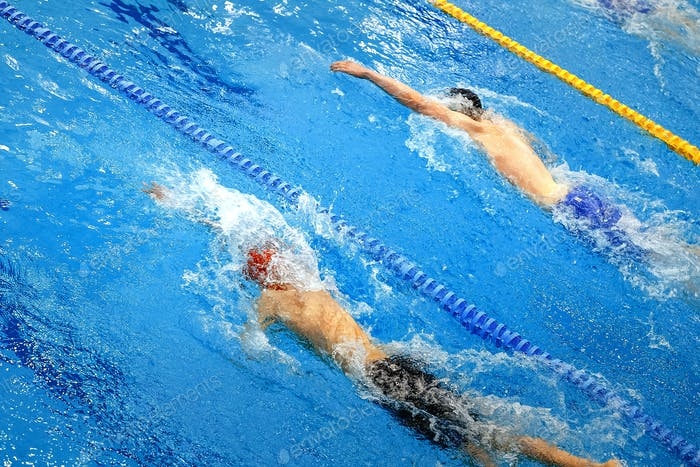 two athletes swimmers