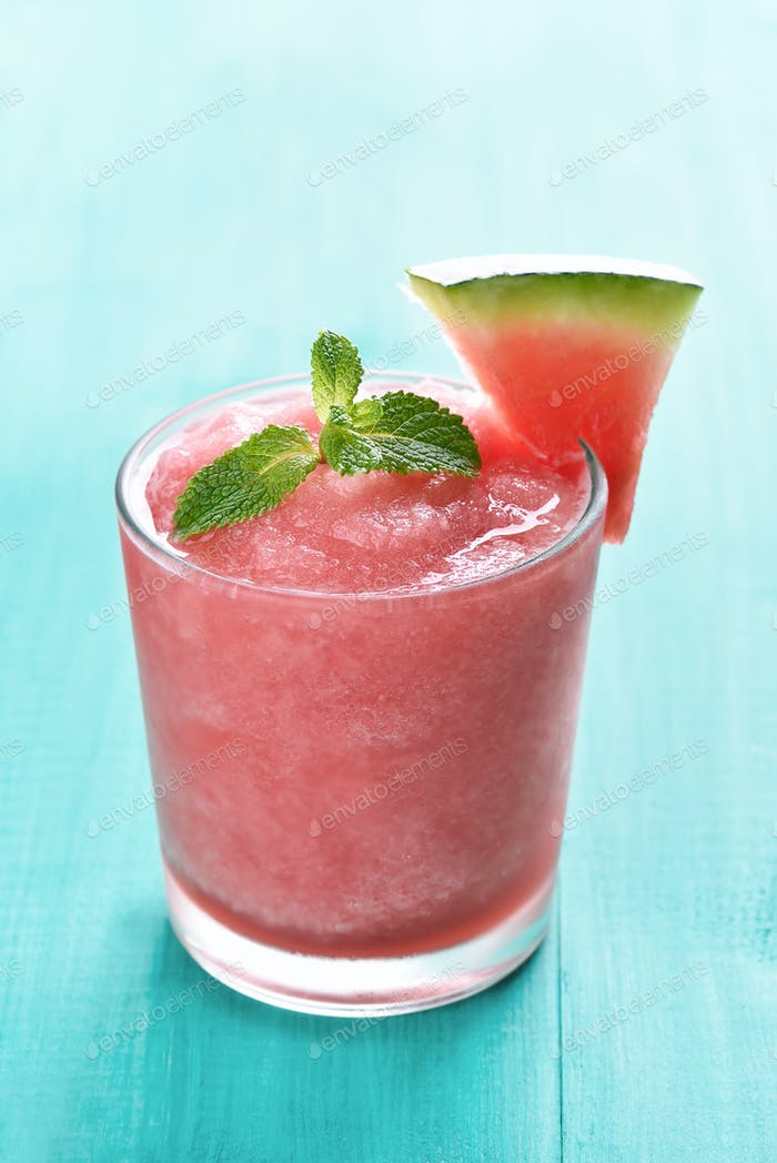 Watermelon sorbet in glass