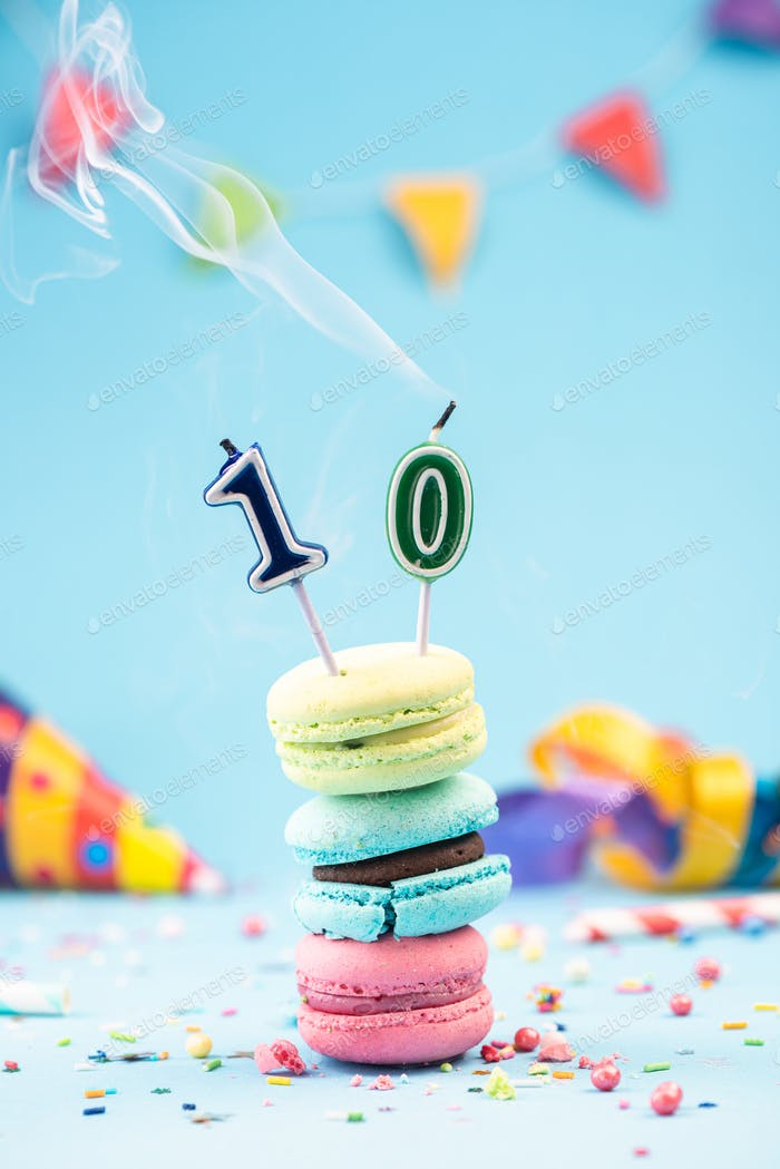 Tenth 10th Birthday Card with Candle Blown Out in Colorful Macar