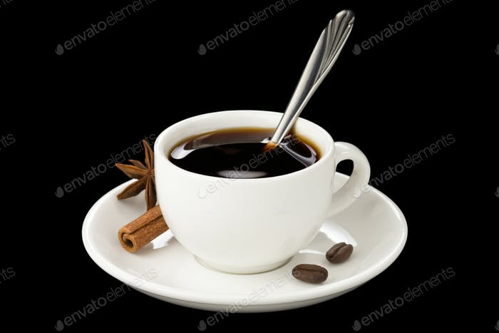 cup of coffee with beans isolated on black