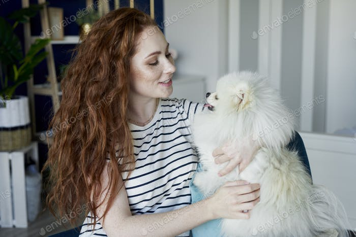 Woman and her best friend pet dog