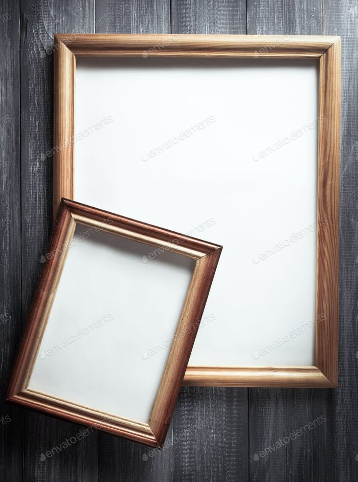 photo picture frame on wood