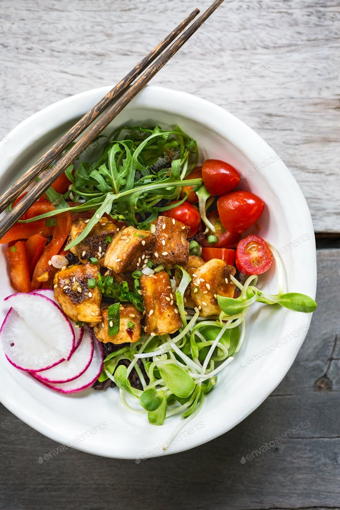 Glazed Tofu with Rocket ,Tomatoes,Sprouts and Radish over Riceberry