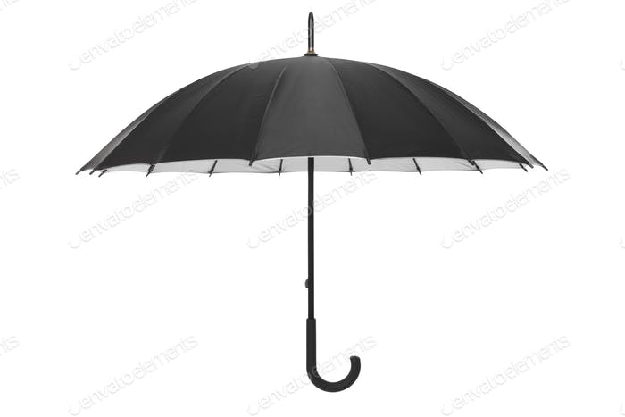 Black umbrella isolated on white, clipping path