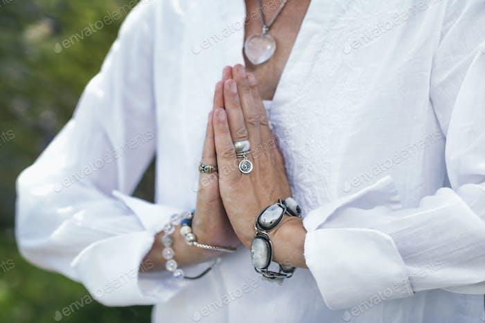 Self-Healing Meditation. Hands in a Prayer Position