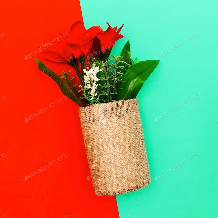 Decorative flowers. Minimal art style