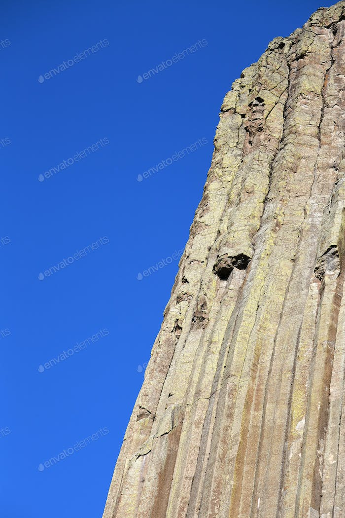 Devils Tower rock formations natural background.