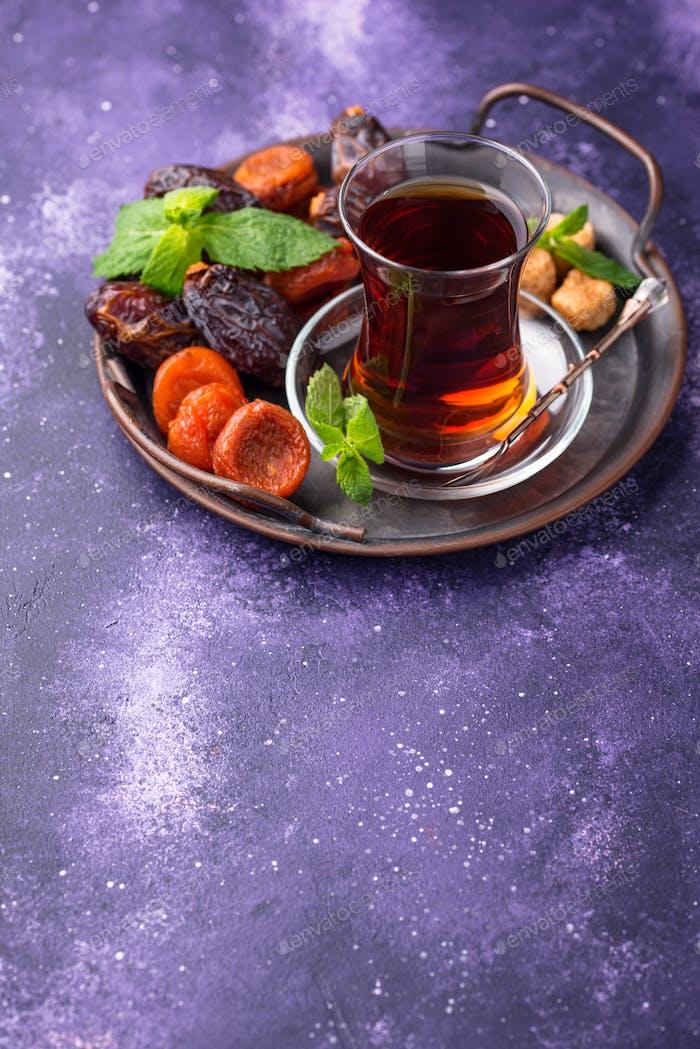 Turkish tea with dried fruits