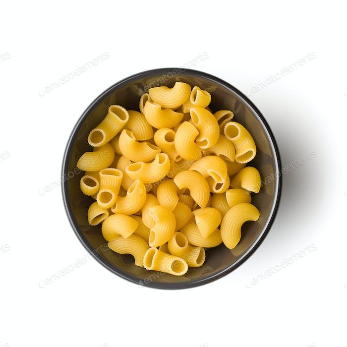 Uncooked elbow macaroni.