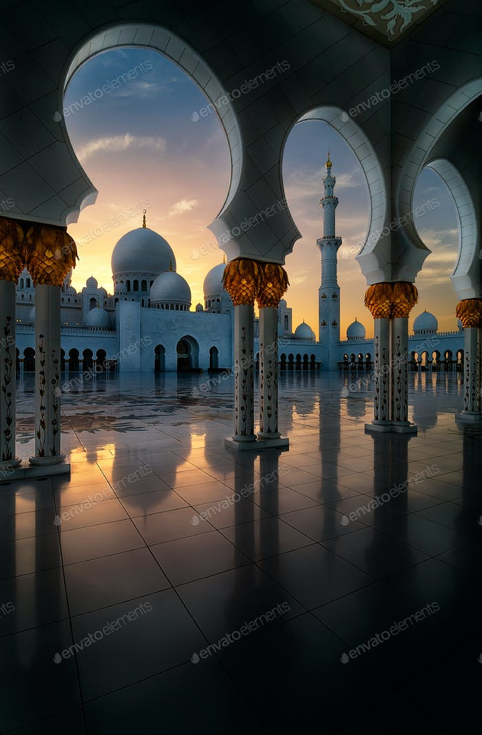 Sunset view at Mosque, Abu Dhabi, Vereinigte Arabische Emirate