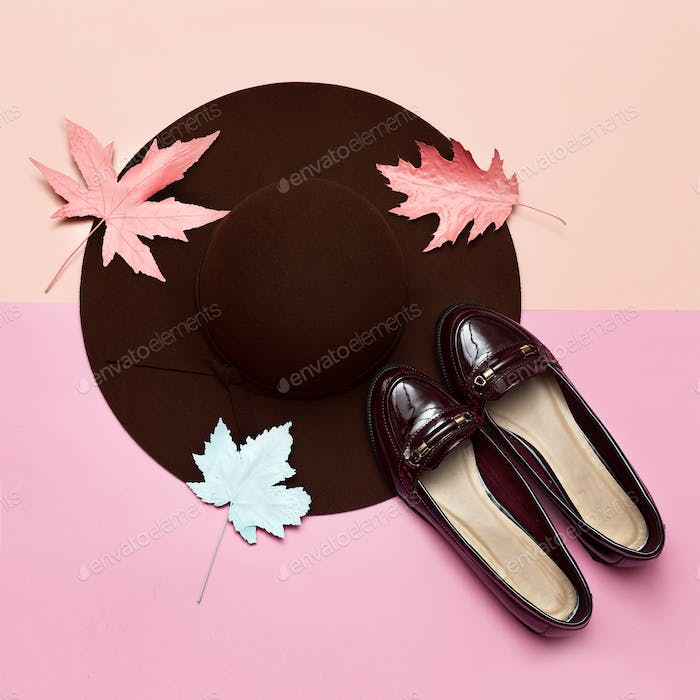 Fashionable felt hat for the lady and shoes. Spring. Style. Conc