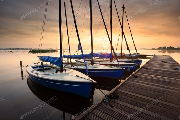 serene charming harbor at sunrise with yachts