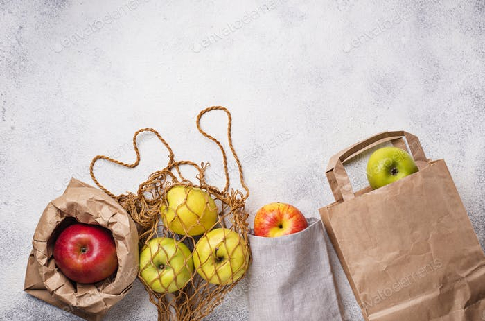 Apples in different eco-friendly packing