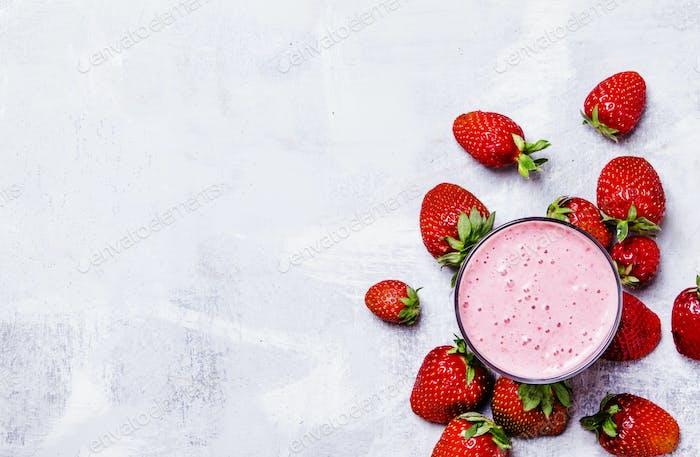 Strawberry milkshake with berries