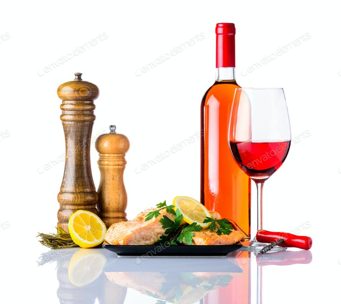 Cooked Salmon Fish Fillet with Wine