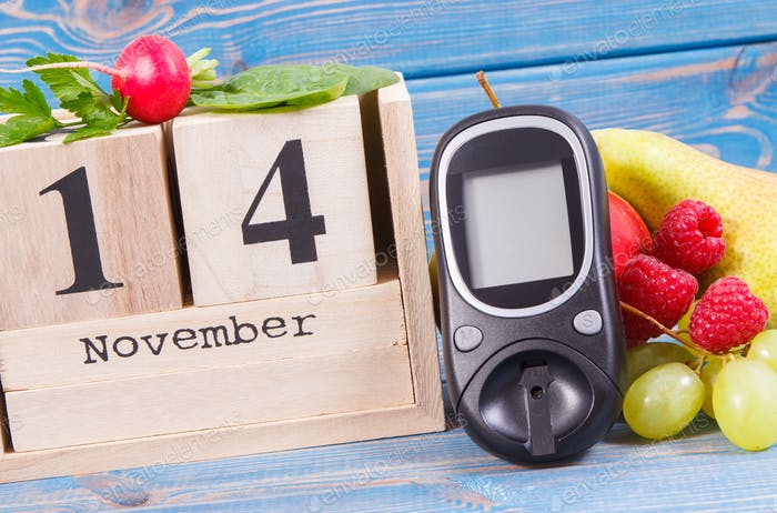 Date 14 November, glucometer for checking sugar level and fruits with vegetables