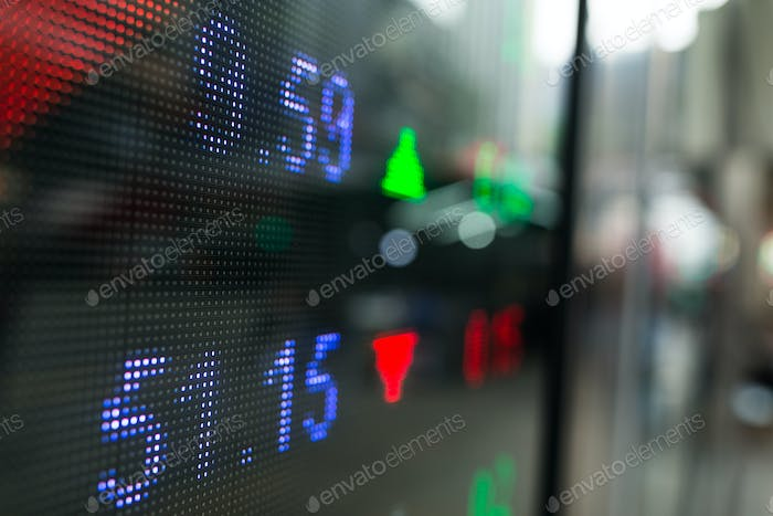 Stock market prices display