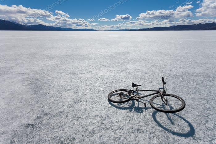 Ice bicycle frozen Lake Laberge Yukon Canada