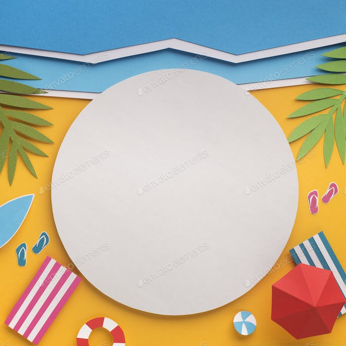 Summer background with white blank place for logo or cutaway