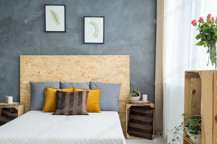 Wooden decoration in bedroom