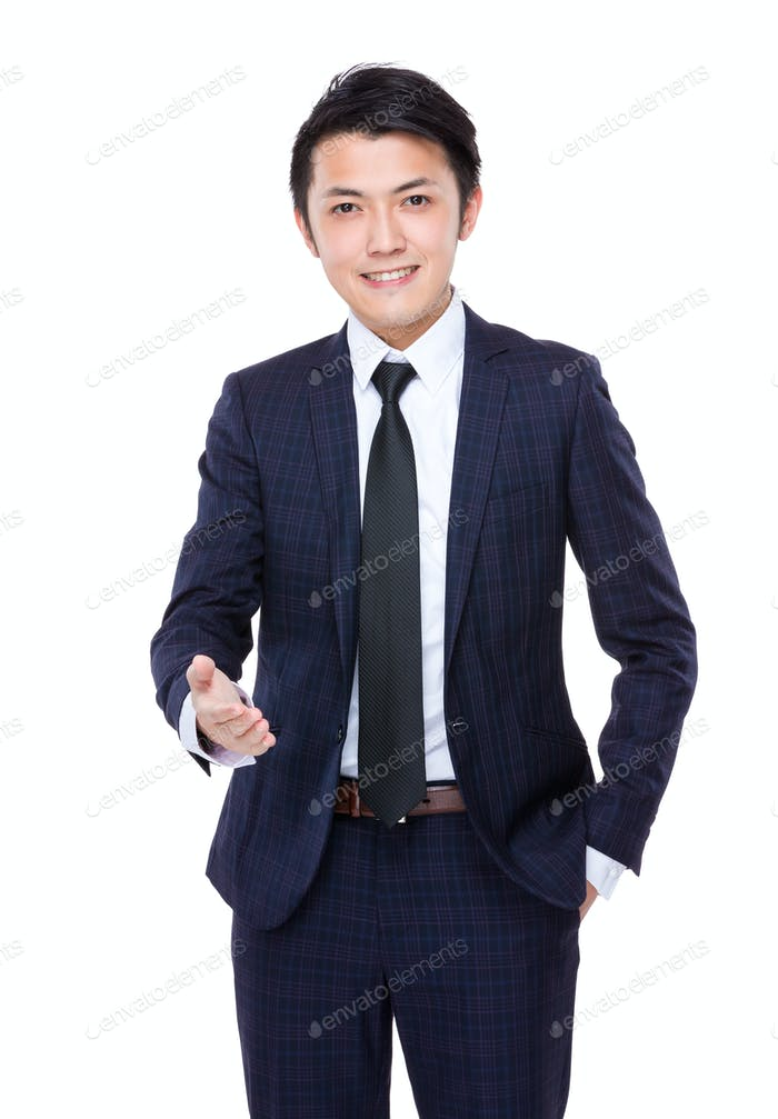 Businessman hand out for handshake