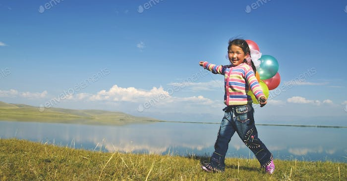 Asian Girls Playing Lake Happiness Relax Concept