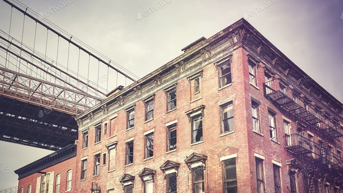 Vintage stylized old building in Dumbo neighborhood, New York.